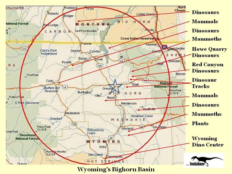 Map of Bighorn Basin